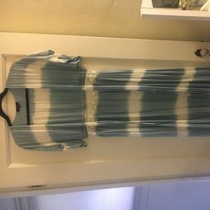 Light Blue and White Kimono